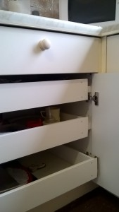 Drawers were cut to size and moved back slightly